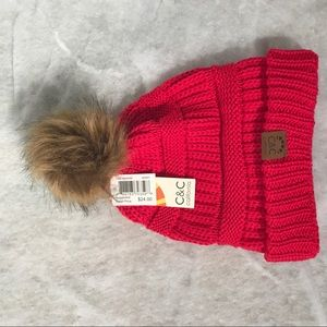 C&C California red woman knit hat